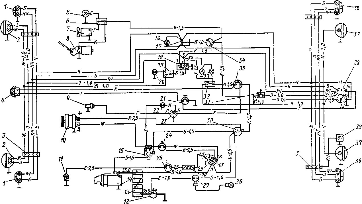 схема проводки трактора т 25